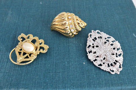 Set Of 3 1960s Scarf Clips Gold Silver Faux Pearl Filigree Shawl Clip Accessory Scarves