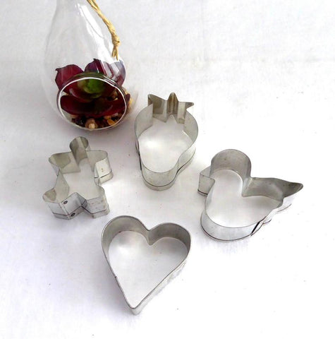 Cookie Cutters 4 Tin Cutters Bird Heart Gingerbread Boy Strawberry 1960s Spring Tea