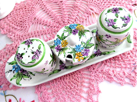 Salt Pepper Mustard And Fitted Tray Set 5 Pieces Hand Painted Floral 1960s