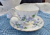 Adderleys Blue Forget Me Not Cup And Saucer 1950s English Bone China