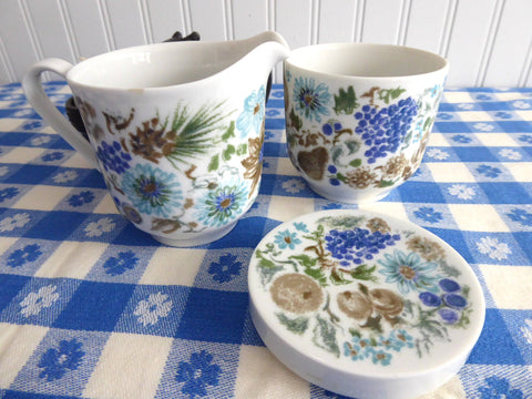 Retro Cream And Sugar Trio Nuts Arzberg Bavaria 1960s Mid Century Modern