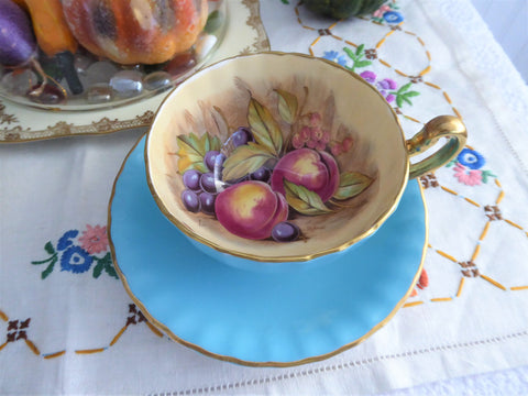 Signed Turquoise Cup And Saucer Aynsley Fruit Center 1960s Burnished Gold