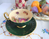Forest Green Cup And Saucer Aynsley Fruit Center 1960s Burnished Gold Signed D Jones