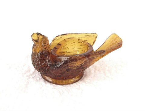 Open Salt Amber Glass Bird And Berry Figural Salt Cellar Degebhart 1960s