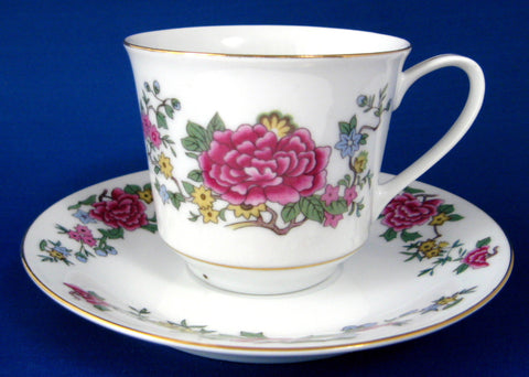 Cup And Saucer Pink Peonies Porcelain Gold Trim 1960s Asian Floral