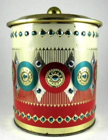 English Tea Tin Embossed Cylinder 1960s Gold Green Red Christmas Colors