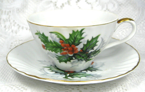 Cup And Saucer Holly Norcrest Christmas Holiday Vintage 1960s