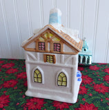 Christmas House Tea Caddy Canister Ceramic Snow Covered 1960s