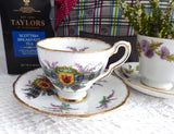 Clan MacDonald Tartan Scottish Heather Cup And Saucer Tartan Plaid 1960s Scotland