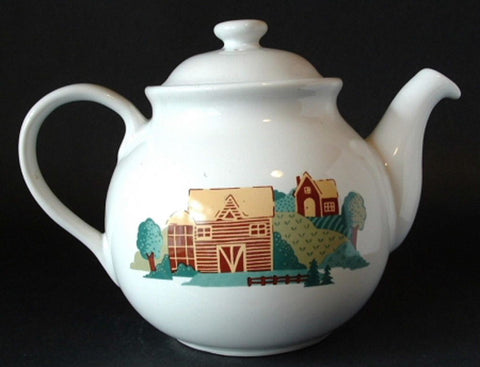 Teapot Corelle Coordinates Farm Landscape Large Tea Pot Barn Fields 1960s