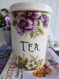 English Violets Tea Caddy Canister 1960s Crownford Importers Made In England