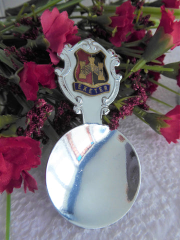 Exeter Tea Caddy Spoon 1960s English Souvenir Chrome Enamel Tea Scoop