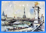 Postcard Signed Girard Watercolor Paris Pont Alexandre 1960s Impressionist