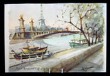 Postcard Signed Artist Delane Watercolor Paris Eiffel Tower 1960s Impressionist