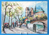 Postcard Signed M Girard Watercolor Paris Notre Dame 1960s Impressionist