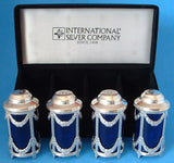 Salt and Pepper 2 Sets Boxed Silver Plate Cobalt Blue Set Of Four Classical Swags