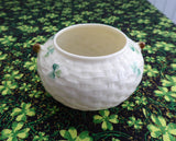 Irish Belleek Sugar Bowl Basket Weave With Shamrocks 1970s 6th Green Mark