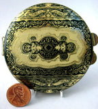 Compact Italian Gold Tooled Leather Green Yellow Gold Vintage Mid Century 1960s