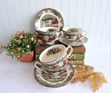 Set of Friendly Village Cups And Saucers 4 Johnson Brothers Ice House Made In England