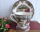 Unusual Tall Friendly Village Cup And Saucer Johnson Brothers Ice House Made In England