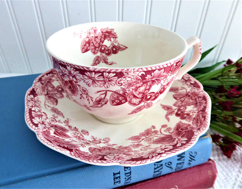 Strawberry Fair Cup And Saucer Pink Red Transferware Johnson Brothers 1959-1973