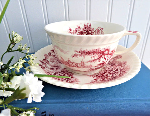 Cup And Saucer Castle On The Lake Pink Red Transferware Johnson Brothers UK 1960s