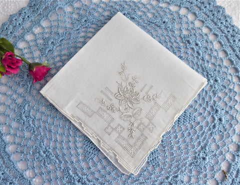 Madeira Handkerchief Hand Embroidered Floral White Rolled Hems Hanky