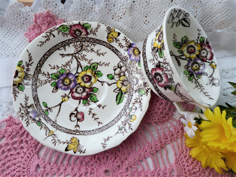 Floral Transferware Cup And Saucer Medway Meakin 1960s Polychrome Ironstone