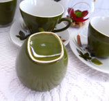 After Dinner Coffee Set Midwinter Riverside Forest Green Leaves Pot 4 Cups And Saucers 1960s