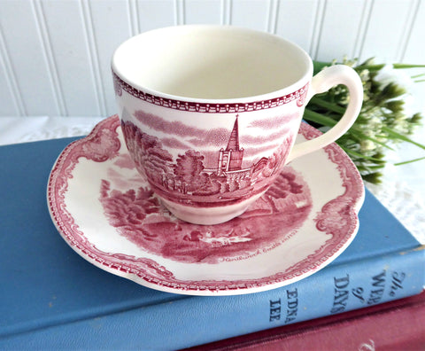 Cup And Saucer Old Britain Castles Pink Transferware Johnson Brothers UK 1960s