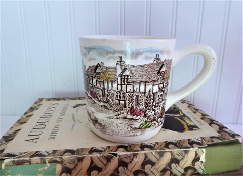 Olde English Countryside Mug Johnson Brothers Brown Transferware 8 Oz