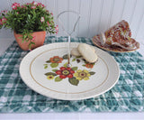 Palissy England Handled Tidbit Server Cake Plate Floral MCM Colors 1960s Serving Plate