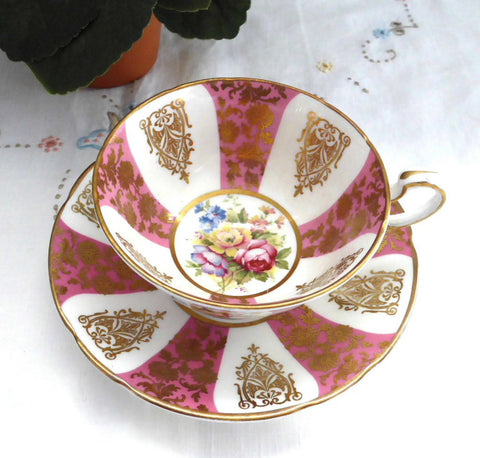 Gorgeous Cup And Saucer Paragon Pink Gold Floral Queen Elizabeth Warrant 1960s
