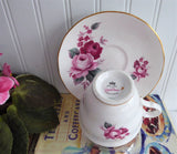 Lush Pink Burgundy Roses Queen Anne English Bone China Cup And Saucer 1960s
