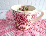 Rose Chintz Mug Johnson Brothers 1960s Hand Colored on Red Transfer 8 Oz