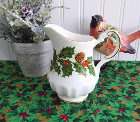 Christmas Yuletide Creamer Only Rosina Pine Holly Berries 1960s Cream