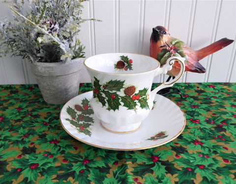 Flat Tea Cup and Saucer Rosina Holly and Berries
