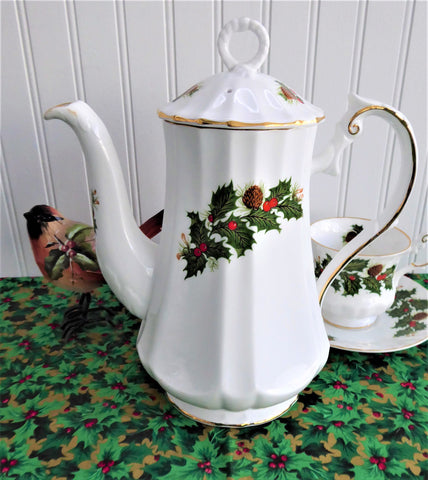 Rosina Yuletide Coffee Pot Christmas Tall Teapot Pine Holly Berries 1960s Holiday