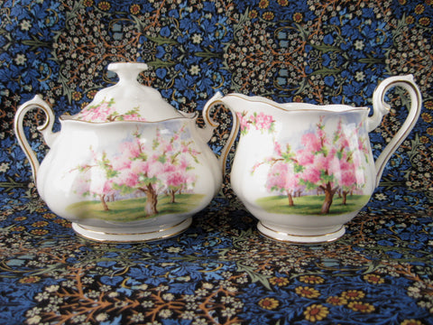 Royal Albert Blossom Time Cream And Sugar 1960s Pink Tree Blossoms Large English Bone China