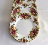 Royal Albert Old Country Roses 4 Tea Bread Plates 6.25 Inch England 1962-1974