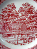Red Transferware Plate Memory Lane Pink Dinner Plate Royal China USA 1960s