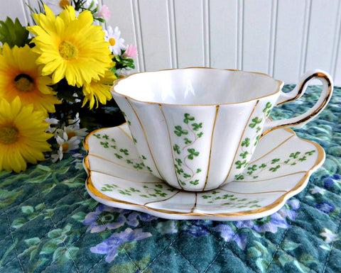 Trellis Shamrock Cup And Saucer Irish Royal Tara Ireland 1960s Fancy Tea Cup