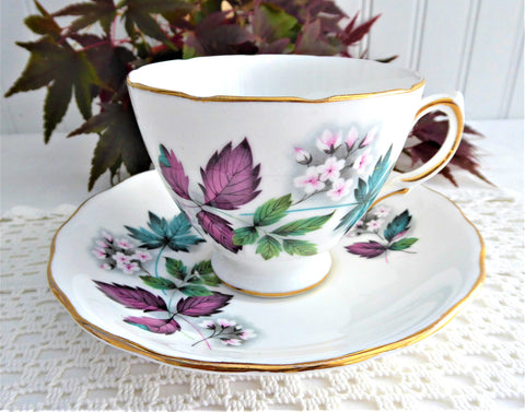 Lovely Blossoms Leaves Cup and Saucer Royal Vale English Bone China 1960s Bone China