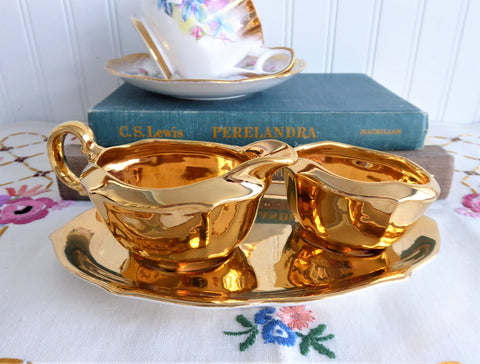 Royal Winton Golden Age Cream And Sugar With Matching Tray 1960s Gold Luster