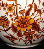 Sadler Tea Caddy Fall Colors Ginger Jar Flowers Foliage 1960s Ceramic Tea Canister