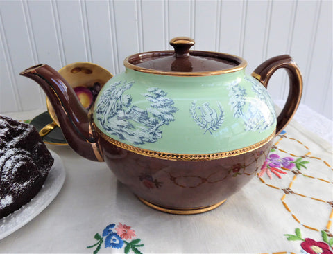 Sadler Fancy Brown Betty Teapot Green Toile Band 1960s England 6 Cups Greek Scene