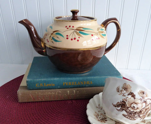 Sadler Fancy Brown Betty Teapot Vintage 1960s England 6 Cups Hand Painted Enamel