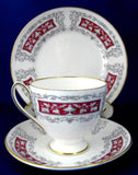 Shelley Blenheim Carlisle Teacup Trio Classical Urns Maroon Bands 1960s