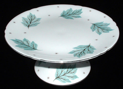 Shelley Cake Plate Plateau Gainsborough Drifting Leaves Gainsborough 1960s Aqua Pedestal