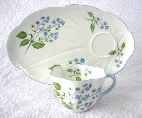 Shelley Dainty American Brooklime Snack Set Cup Saucer Fitted Plate Snack Buffet